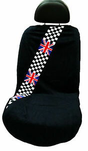 british checkered flag mini cooper seat armour seat cover seat towel ebay. Black Bedroom Furniture Sets. Home Design Ideas