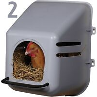2 PACK LARGE WALL MOUNT NESTING NEST BOX & PERCH CHICKEN COOP HEN HOUSE POULTRY