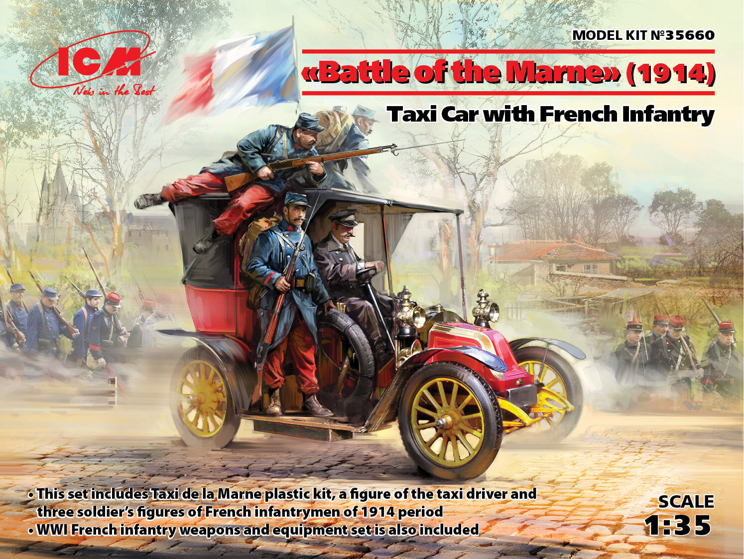 ICM 1 35 Battle of Marne (1914) Taxi Taxi Taxi Car with French Infantry 96dc77