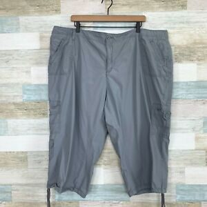 Calvin Klein Cropped Capri Cargo Pants Gray High Rise Cotton Womens Plus 22W