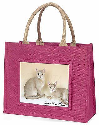 Abessinische Katzen 'Liebe, die Sie Mama' Große Rosa Einkaufstasche Weihnachten