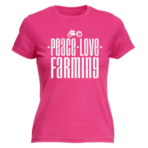 Peace Love Farming WOMENS T-SHIRT Tractor Farmer Driver Funny Gift birthday