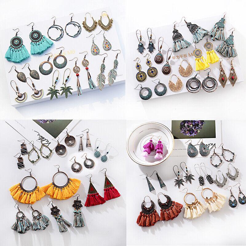10 Pairs/Set Bohemian Dangle Tassels Earring Boho Dangle Dro