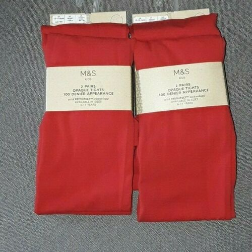 M/&S Women/'s Girls Kids 4 Pairs Opaque Red Tights Size 13-14yrs RRP £16 BNWT New