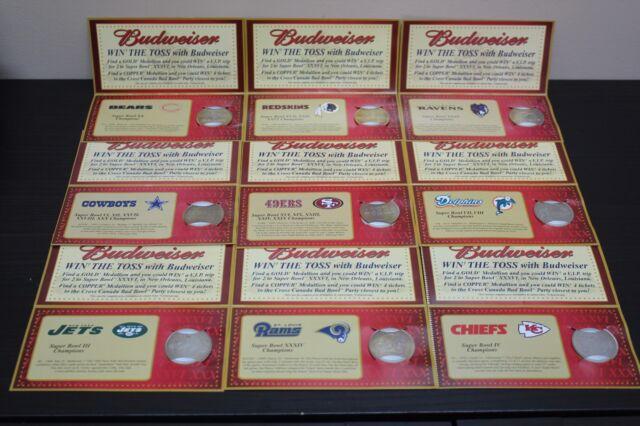Nine Super Bowl XXXVI Budweiser Commemorative Medallions