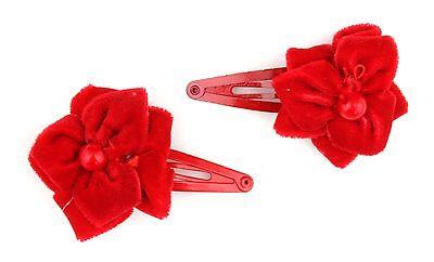 Marchio Popolare Zest Rosso Natale Sleepie Capelli Clip Con Velluto Rosso Fiore-mostra Il Titolo Originale