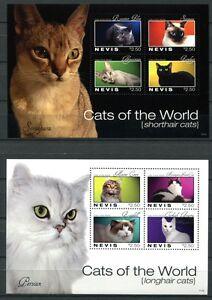 Nevis-2011-Katzen-Cats-Haustiere-2553-2560-Kleinboegen-Postfrisch-MNH