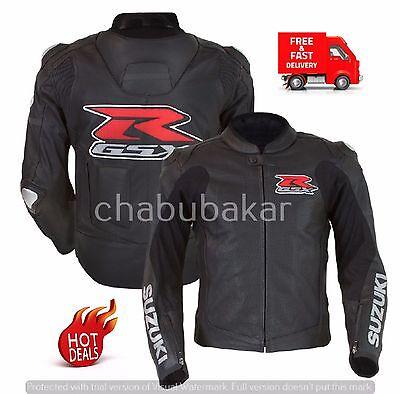 SUZUKI GSXR BLACK LEATHER MOTORCYCLE MOTORBIKE MOTOGP RACING JACKET CE ARMOURED