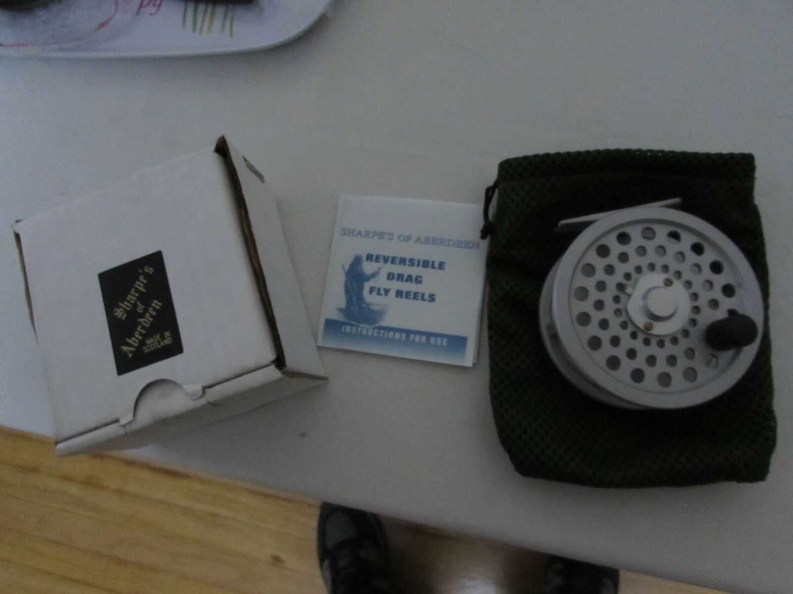 Stunning unused sharpes  aberdeen menteith trout fly fishing reel 3 + 5 8ths   first time reply