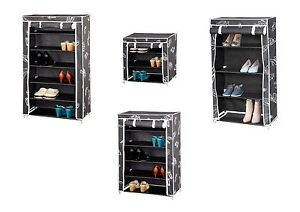 canvas shoe storage cabinet tiered shelves footwear stand