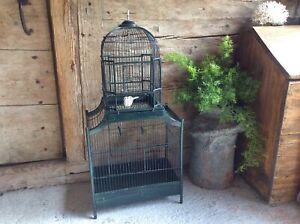 Ancienne grande cage à oiseaux à simple ou à double compartiments - Bois et Fer