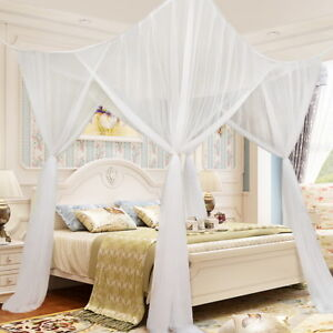 f6d4e298db829 4 Corner Post Bed Canopy Mosquito Insect Bug Net Full Queen King ...