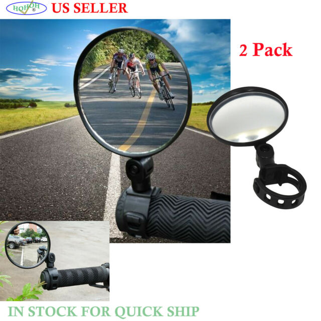 PAIR MINI ROTATY ROUND HANDLEBAR GLASS REAR VIEW MIRROR FOR ROAD BIKE BICYCLE