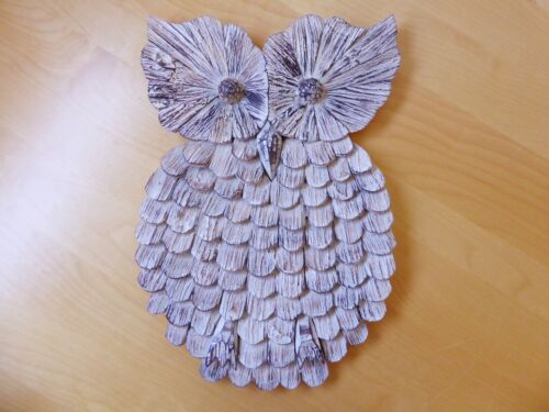 Owl Wood Carving Wall Plaque 50cm Durian Wood.....