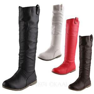Womens-Biker-Boots-Shoes-Casual-Riding-Knee-High-booties-size-3-5-6-7-9-8-10