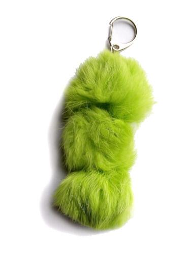 Rabbit Fur Keychain Green