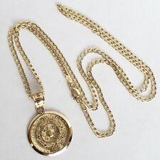 Real 14k Yellow Gold Aztec Medallion Calendar Pendant Charm 20 Inch Figaro Chain