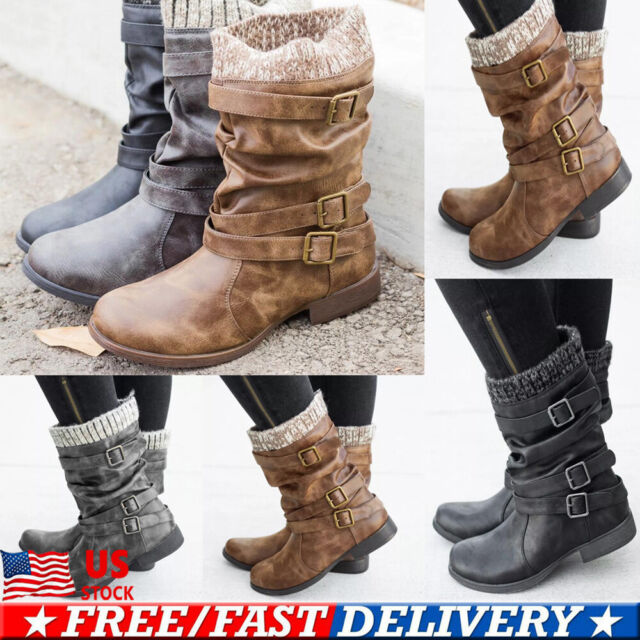 Womens Slouchy Boots Casual Buckle Slip On Knit Top Mid Calf Boots Flat Shoes US
