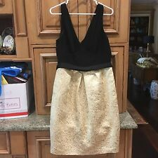 BCBG MAX AND CLEO BLACK AND GOLD FLORAL PRINT V NECK DRESS IN SIZE 14 12 $200