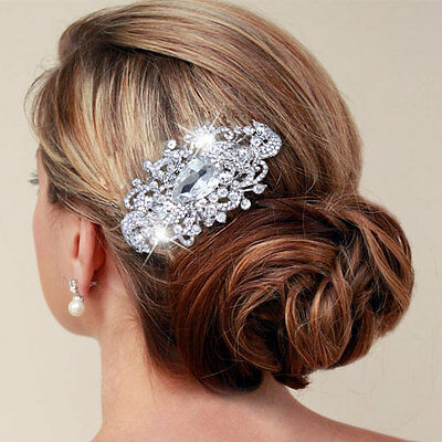 Wedding Leaf Teardrop Hair Comb Tiara Austrian Rhinestone Crystal E240