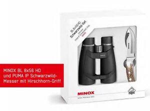 Fernglas-Minox-BL-8x56-HD-Neuware-Schwarzwild-Set-inkl-Puma-Jagd-Messer