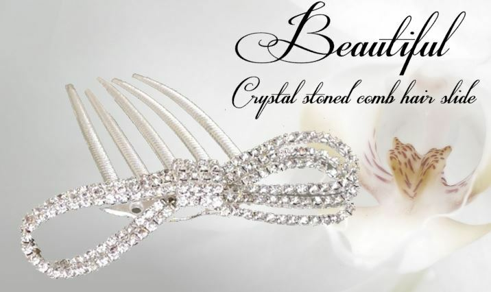 Crystal Hair Slide (Bow shaped) 10cm approx size - Bridal Bride hair slide comb