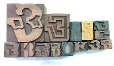 Letterpress Letter Wood Type Printers Block Lot Of 14 Typography Eb 57