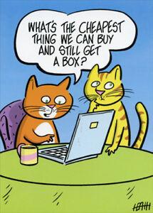 La Foto Se Esta Cargando Cats Shopping Online Funny Birthday Card Greeting
