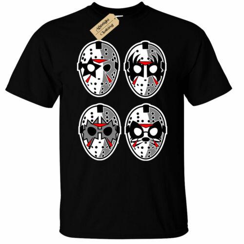 Kids Boys Girls Jason Rock Masks T-Shirt kiss faces metal halloween black