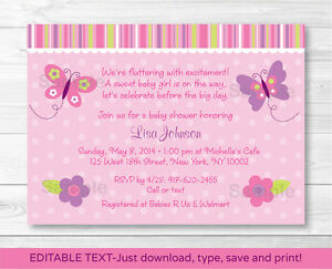 Baby Girl Pink Butterfly Printable Baby Shower Invitation Editable