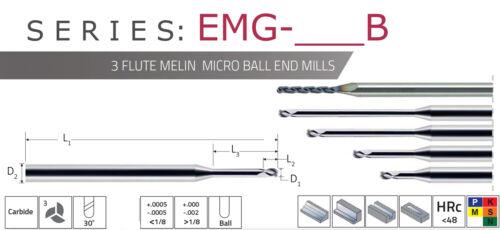 """3//64/"""" Ball End .480/"""" Long Reach 3FL Carbide End Mill Melin USA H0845 .070/"""" LOC"""