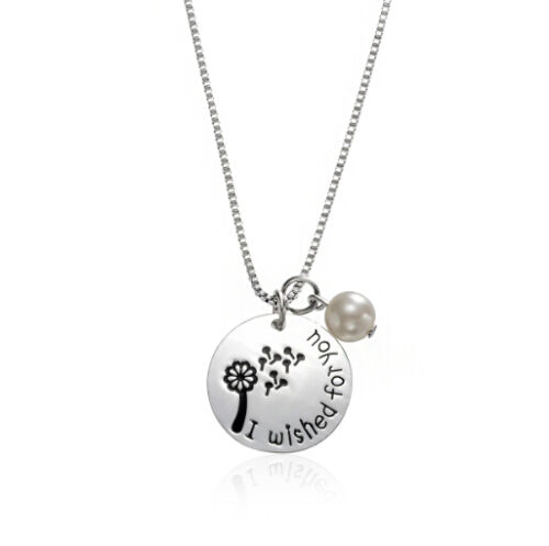 *UK* 925 SILVER PLT /'I WISHED FOR YOU/' PEARL BEAD DANDELION ENGRAVED NECKLACE 18