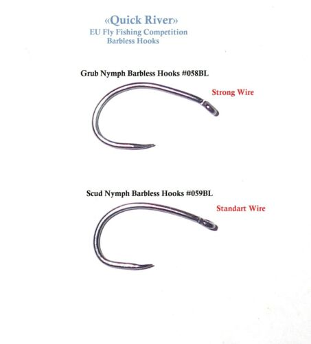 SCUD NYMPH BARBLESS HOOKS Size #10-12 FlyFishing EU Competition Czech Style #058
