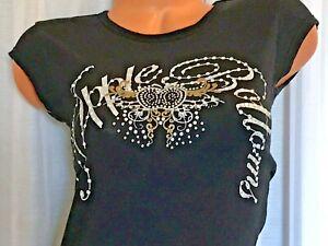 APPLE-BOTTOMS-Womens-T-Shirt-Bling-Logo-Black-Silver-medium-Rhinestones-NWOT