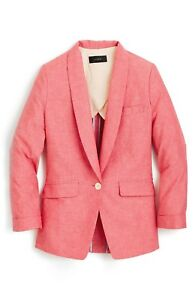 aceb54ed New J. Crew Women's Unstructured Blazer in Cotton-Linen - Red - Size ...