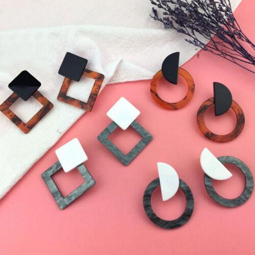Fashion Retro Women Acrylic Geometric Square Circle Stud Earrings Jewelry