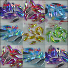 faceted water drop 8x21mm AB Acrylic Crystal silver back Diamante Rhinestone sew