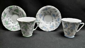 Royal-Grafton-England-5830-Blue-5873-Green-Flower-Gray-Pair-of-Cups-amp-Saucers