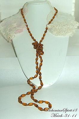 Vintage Art Deco Czech Amber Glass 54''Flapper/Necklace