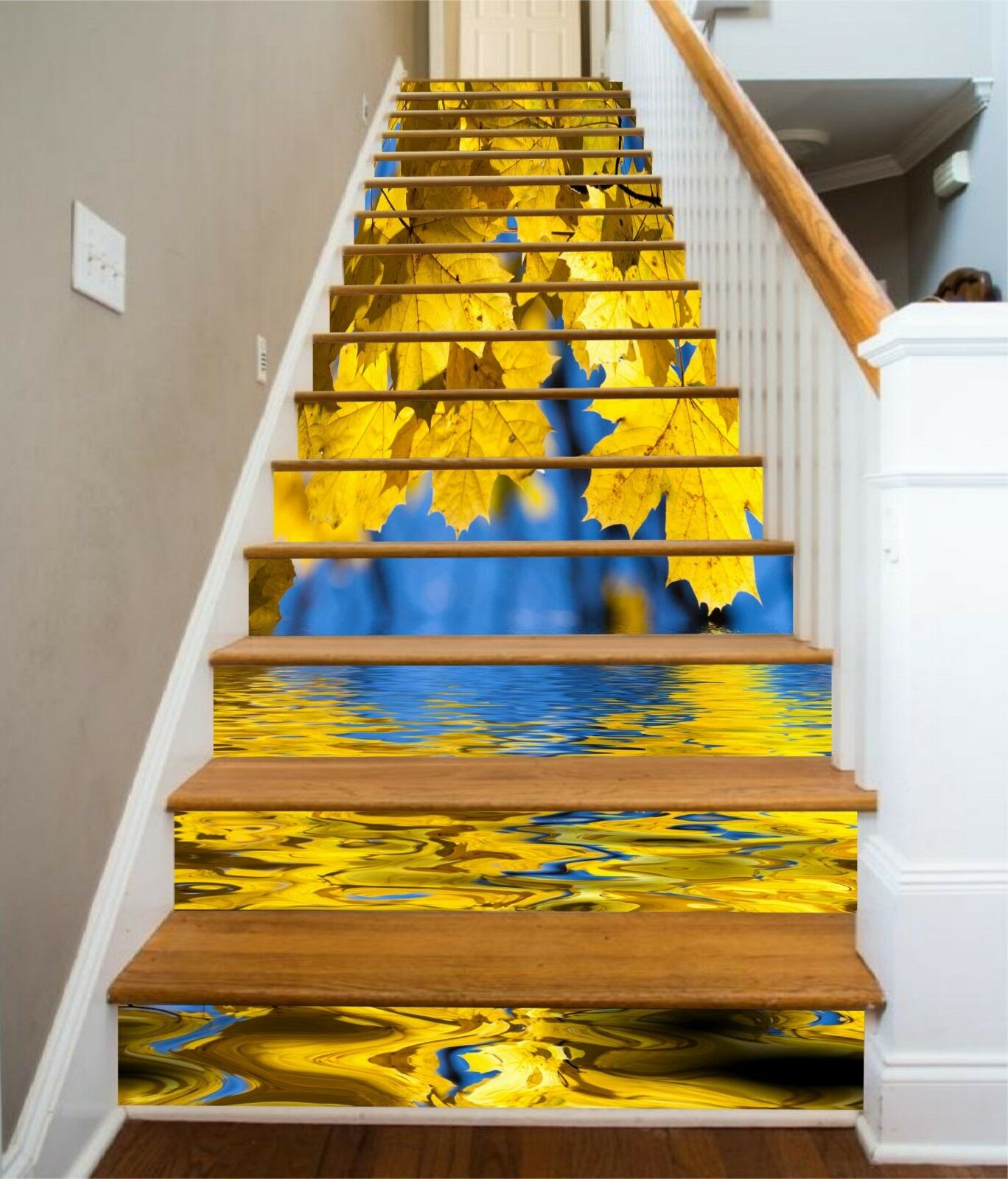 3D Leaves River Stair Risers Decoration Photo Mural Vinyl Decal Wallpaper UK