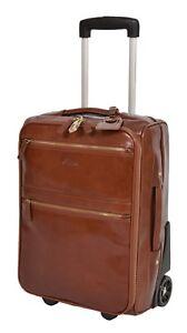 CUIR VÉRITABLE valise bagages Exclusive week-end cabine chariot de Voyage Sac Cognac