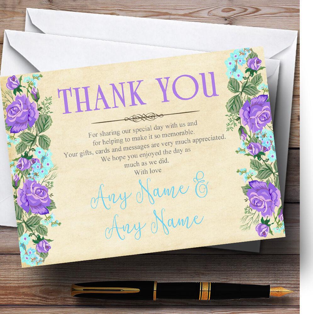 Vintage violet & bleu aquarelle personnalisé mariage remercieHommes remercieHommes mariage t 25499e