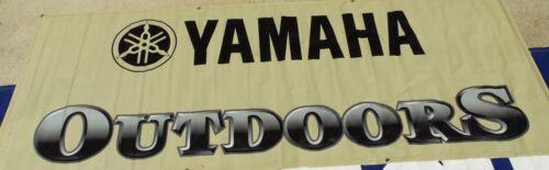 """MAN CAVE DEALER BANNER POSTER /"""" YAMAHA OUTDOORS/"""" 3/' X 8 /' BEIGE"""