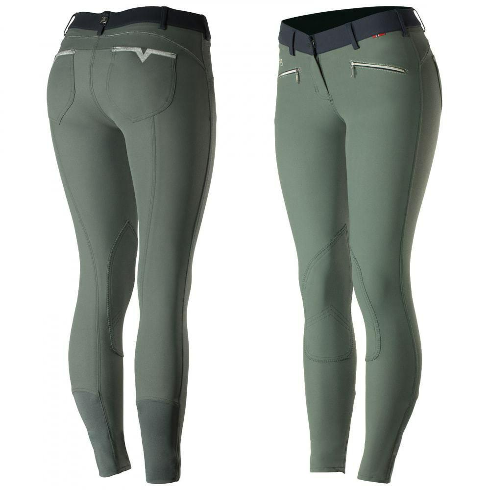 B greenigo Claire Women's Medium Waist Knee Patch Riding Breeches Opti-Pro