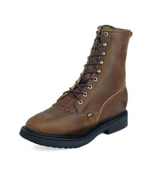 USA Made Justin Mens 8  Aged Bark Lace Non-Steel Toe Work Boots 760