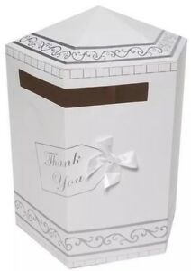 Wedding Gift Post Boxes Uk : Wedding-Gifts-Thank-You-Card-Post-Box-Mailbox-White-amp-Silver-New-UK ...