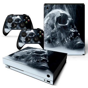 Xbox One X Skin Design Foils Sticker Screen Protector Set Video Games & Consoles Blue Skull 2 Motif