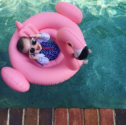 Kid Baby Flamingo Seat Ring Inflating Inflatable Swimming Aid Trainer 6-24M Pool