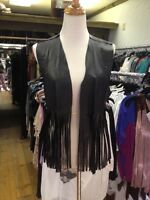 Yank K Black Leather Fringe Vest. Perfect For Coachella Hippie Vest Free Ship