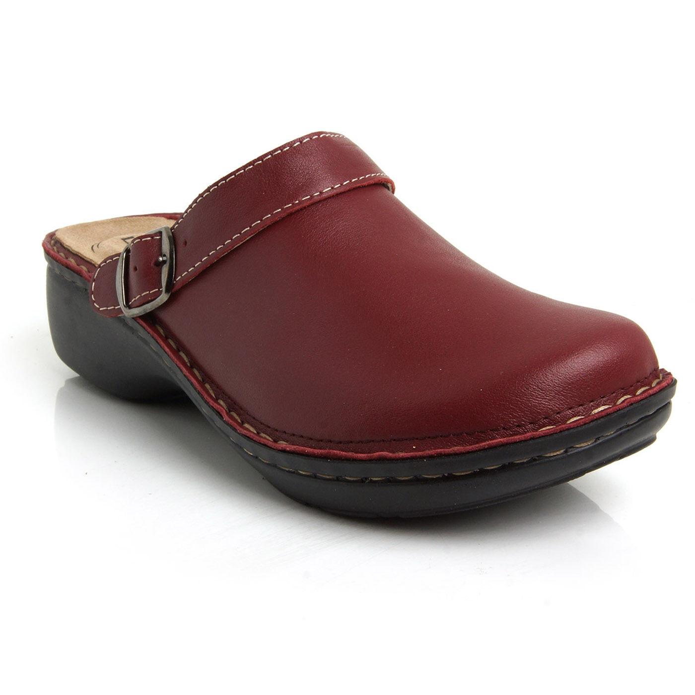 Batz mira las zonas de 5 Rojo Oscuro para Mujer de Cuero Zapatos Sandalias Mulas Zuecos Slip On Nuevo